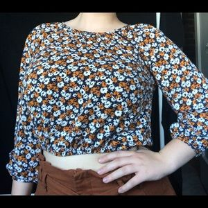 Orange and Yellow Floral Blouse